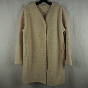 Uniqlo Sherpa Long Coat Trench Polyester Cream L